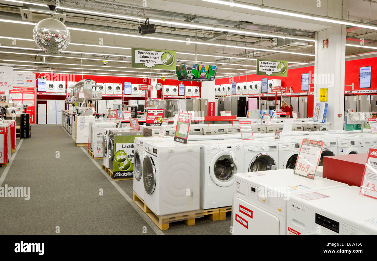 media markt mediamarkt laundry machines store hypermarket of stock photo royalty free image. Black Bedroom Furniture Sets. Home Design Ideas