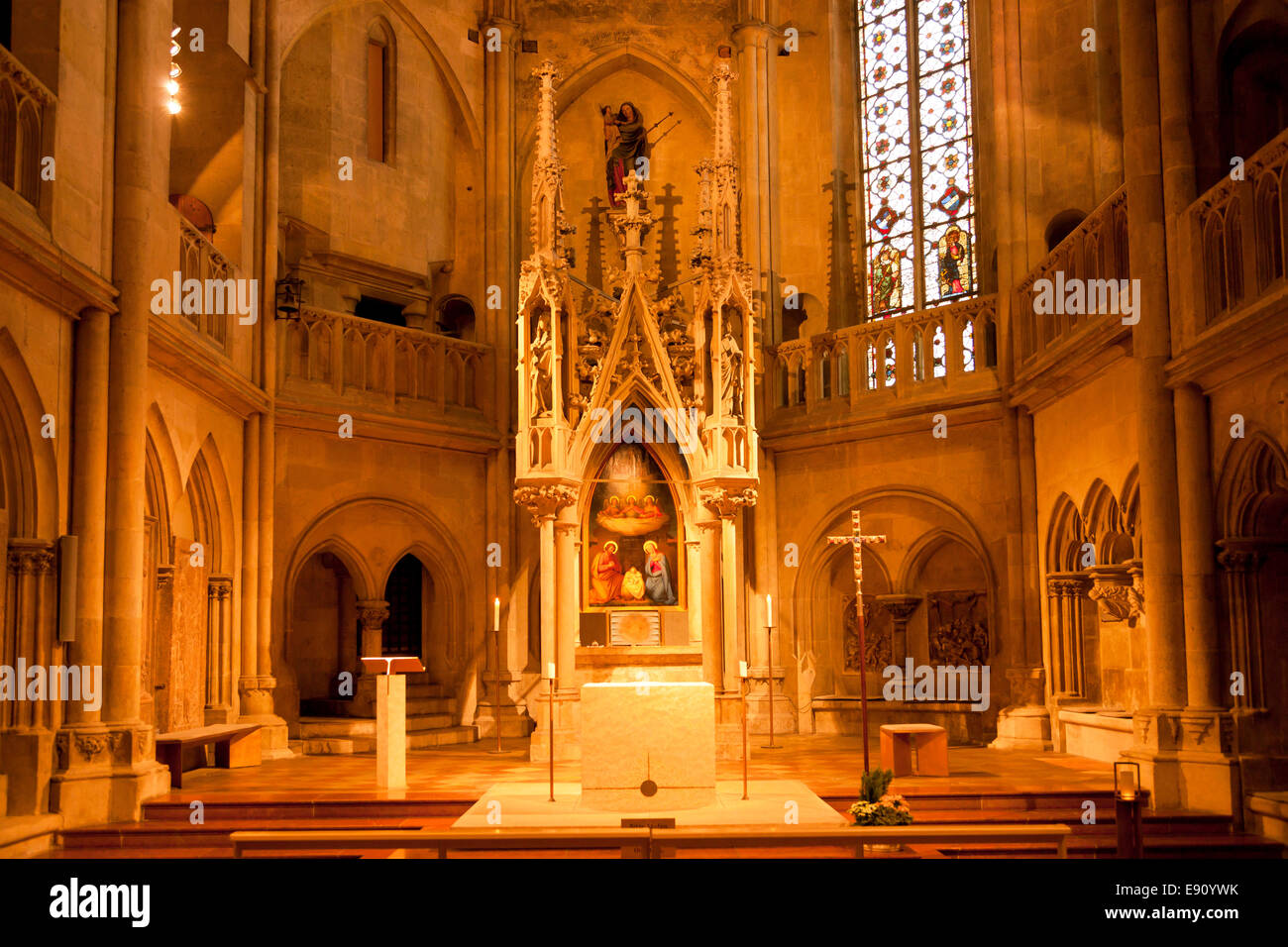 interior and altar of the regensburg cathedral in regensburg stock photo royalty free image. Black Bedroom Furniture Sets. Home Design Ideas