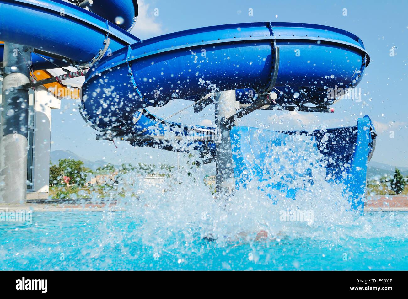 Water Slide Fun On Outdoor Pool Stock Photo Royalty Free Image 74526782 Alamy