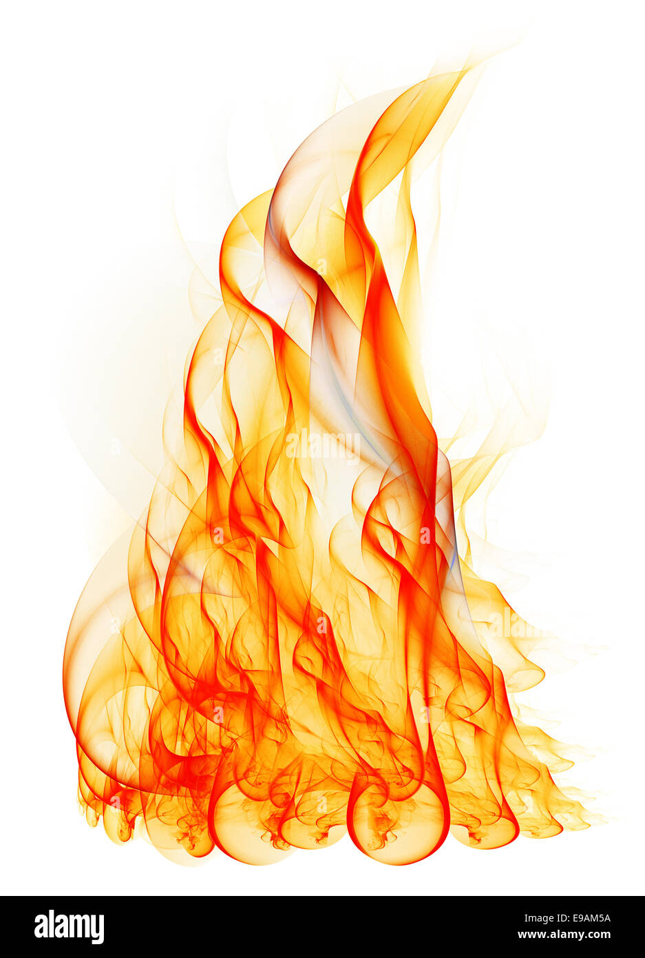 flame fractal fire isolated on white background stock