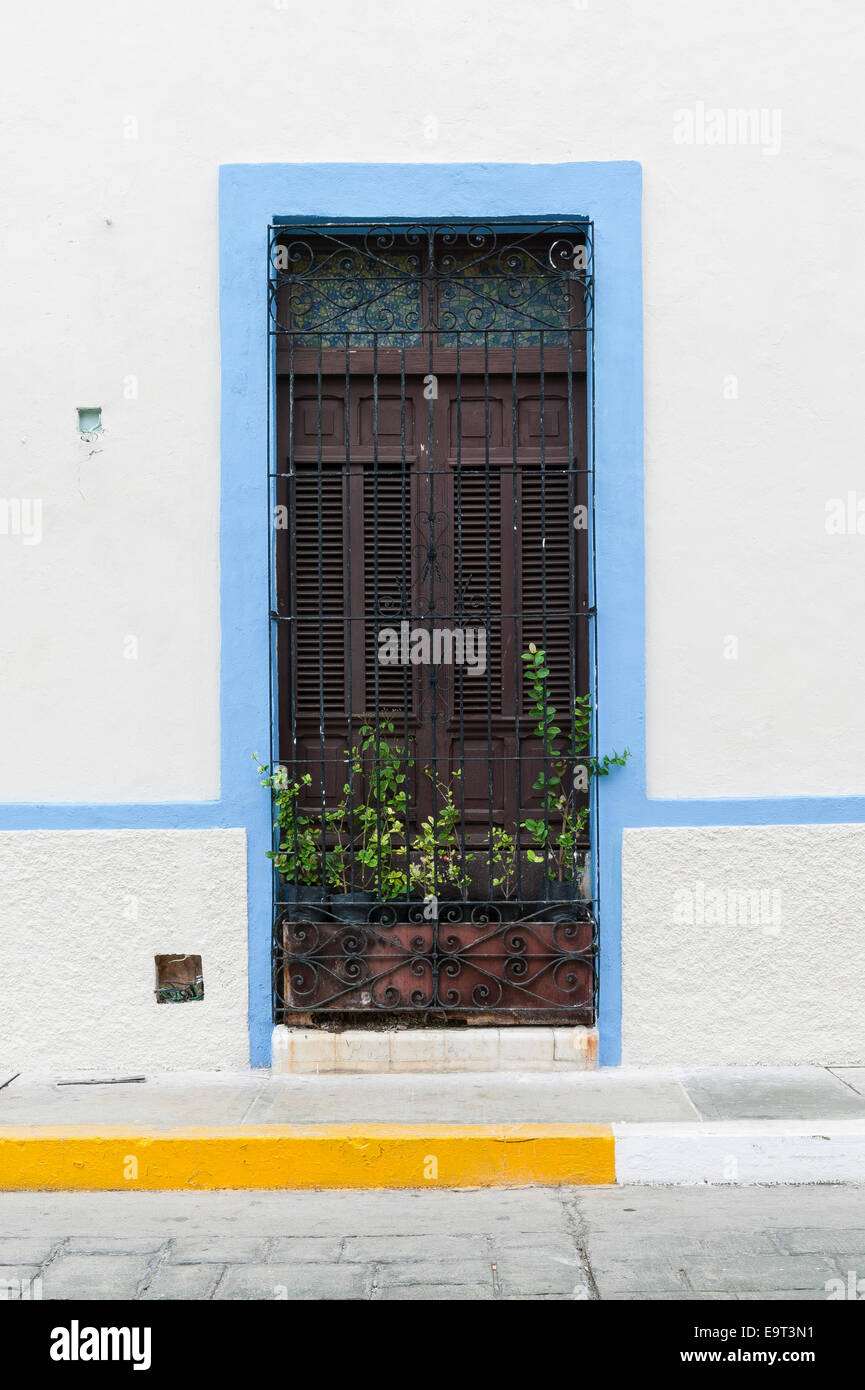 White Spanish Colonial House Window Trimmed In Light Blue With Stock Photo Royalty Free Image