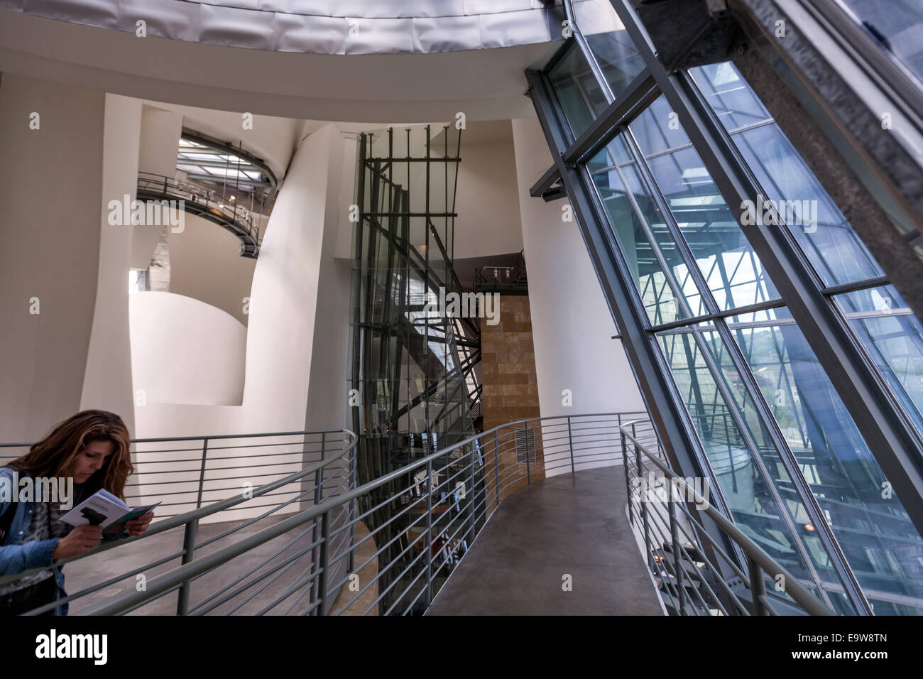 Interior of the guggenheim museum bilbao designed by stock photo royalty free image 74929141 for Guggenheim museum bilbao interior