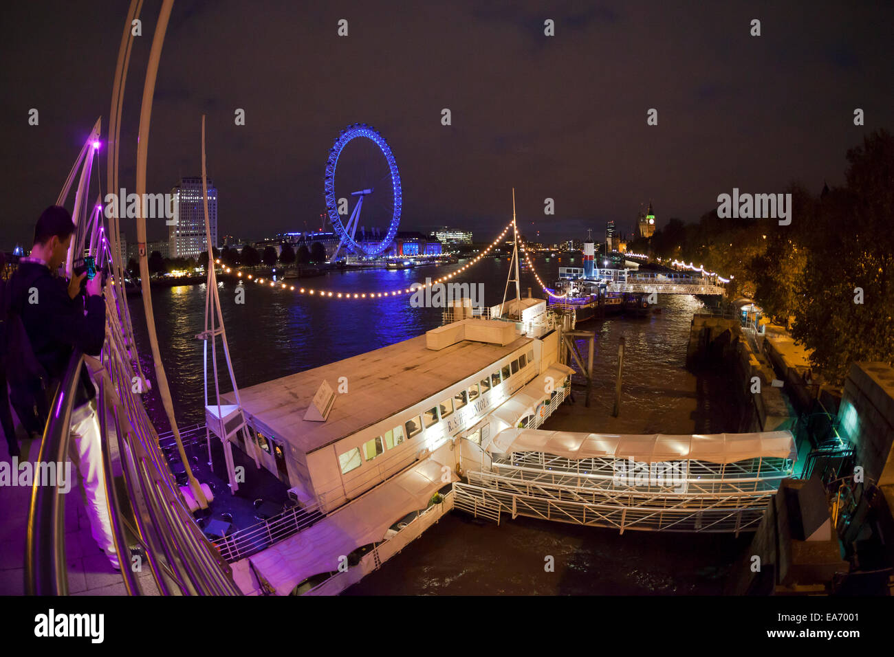 Restaurant ship Hispaniola berthed on the Thames with the London Eye in the background Stock Photo