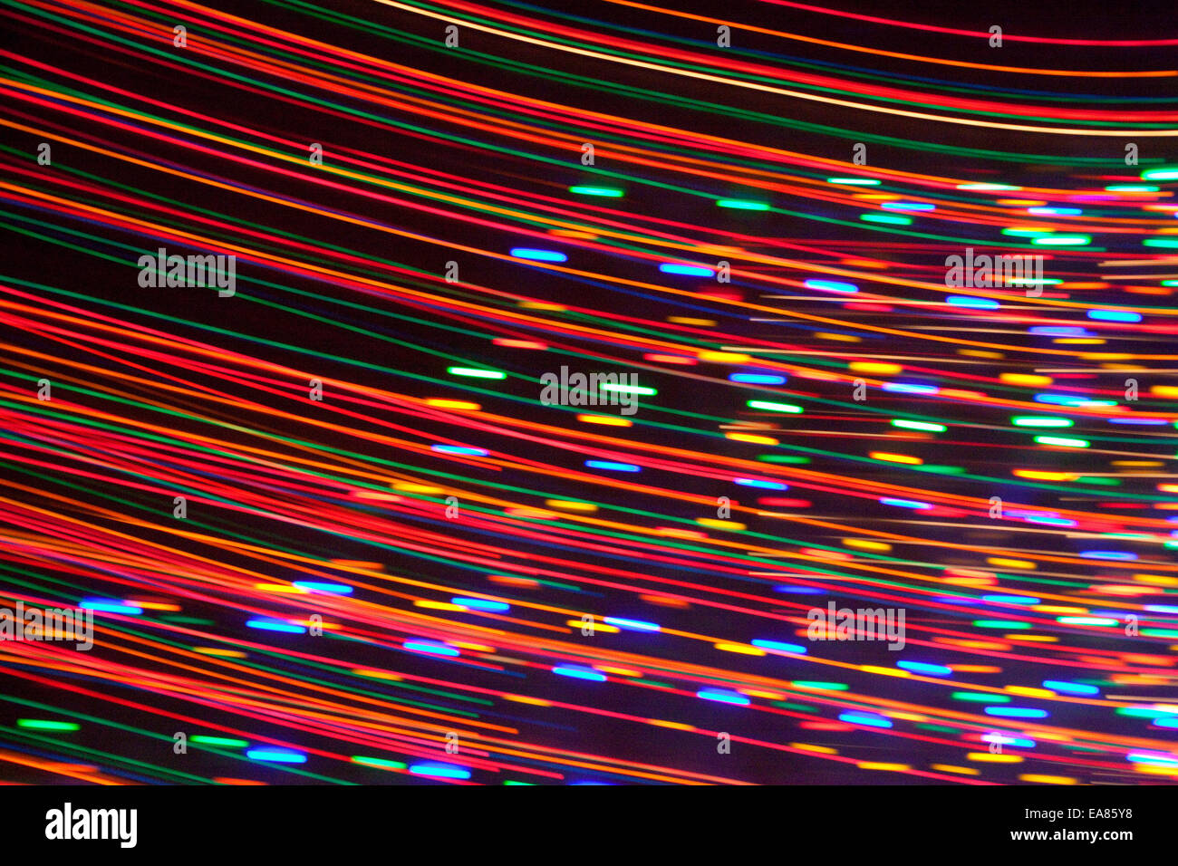 Streak of colored lights from Christmas Holiday Lights. Stock Foto