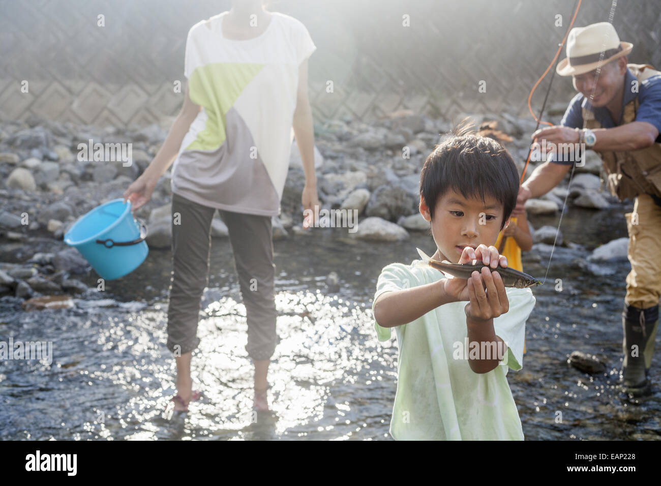 Family fishing in a stream. Stock Foto