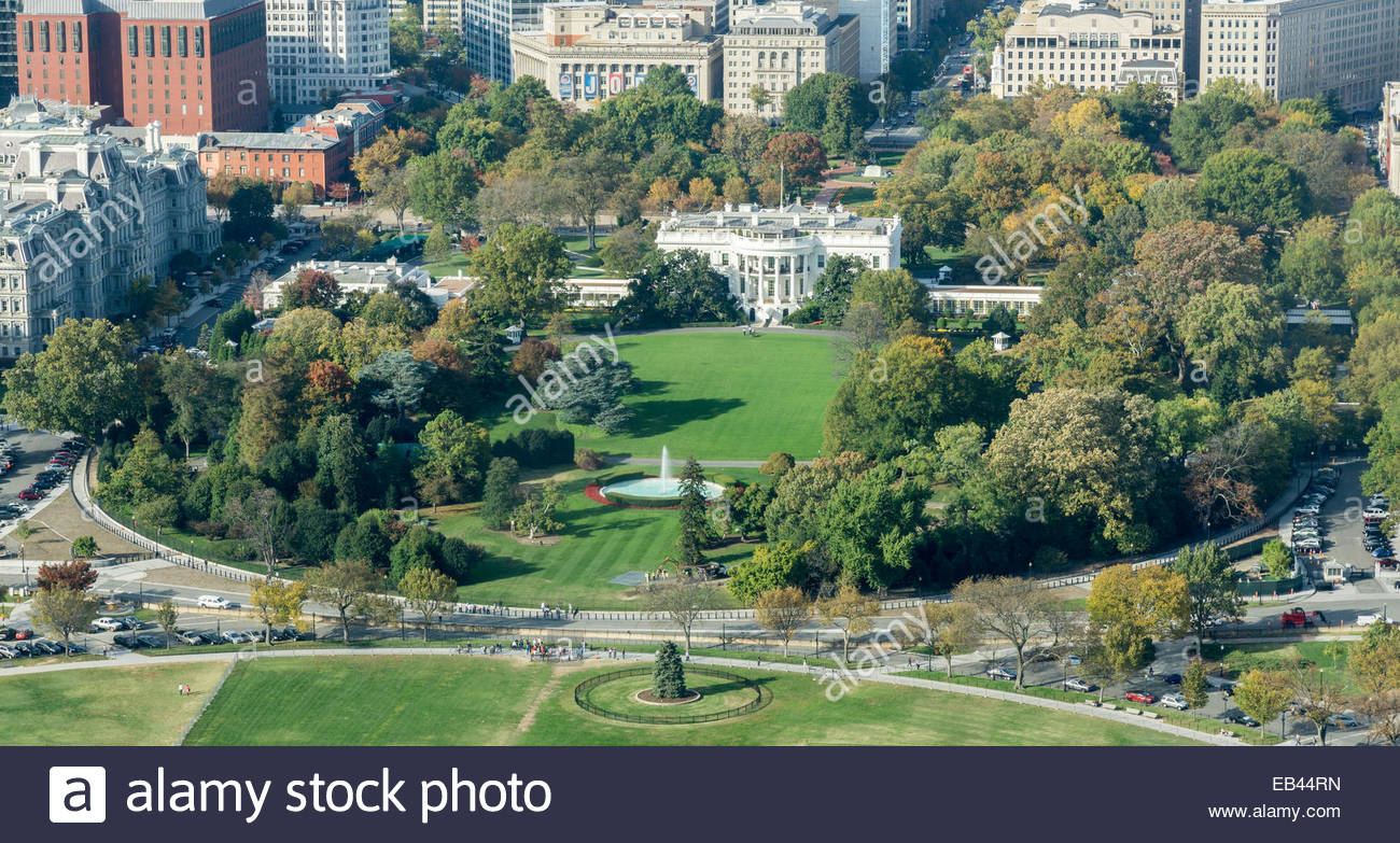 Aerial View Of The White House And Grounds In Washington