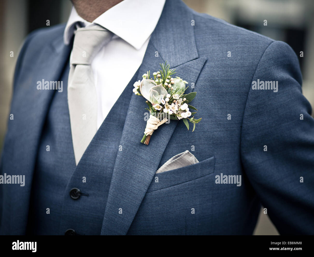 Grooms Button Hole On Blue Suit With White Shirt, Wedding Suit Stock Photo, Royalty Free Image ...