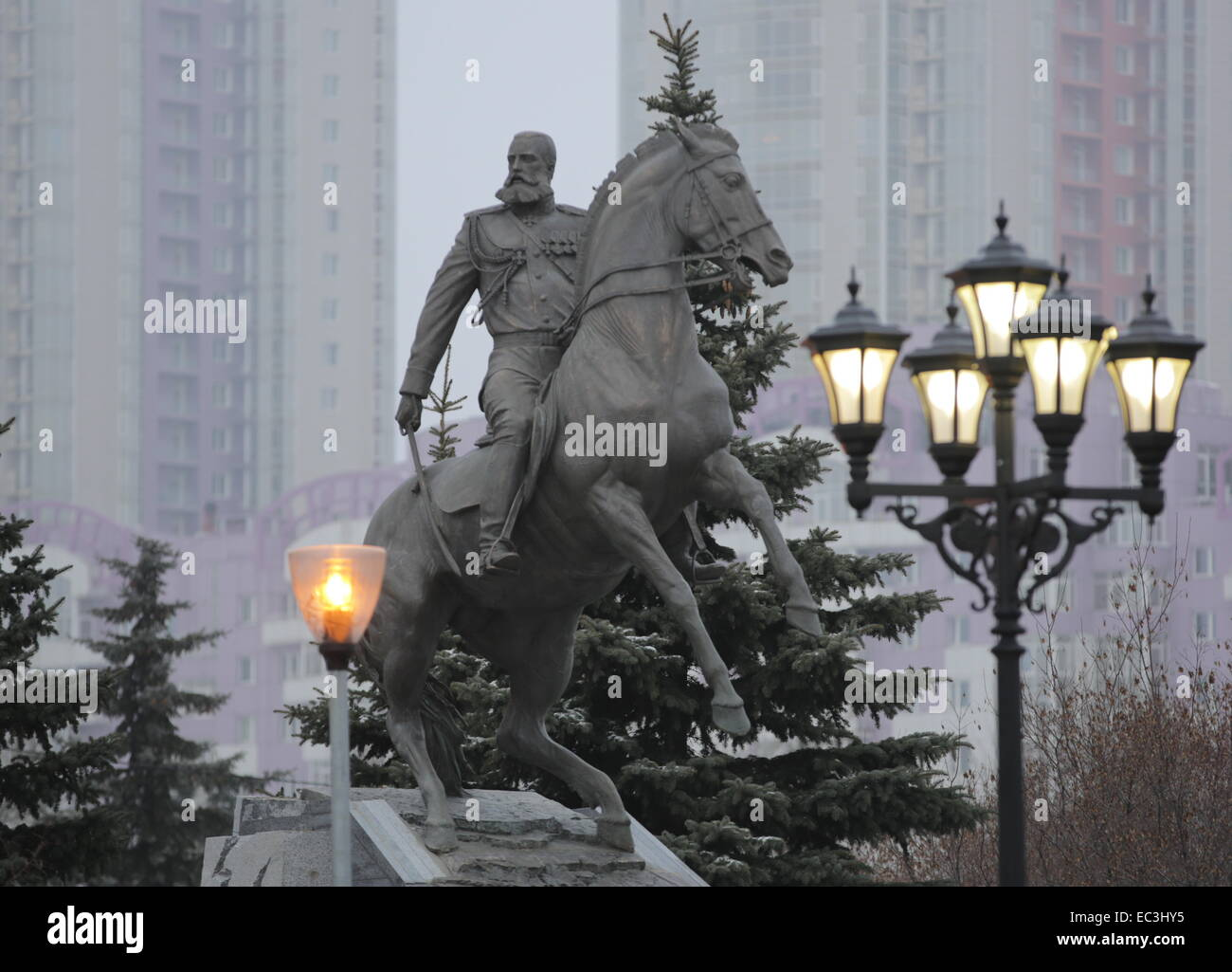 MOSCOW, RUSSIA. DECEMBER 9, 2014. The picture of the monument to Russian general Mikhail Skobelev by sculptor Alexander Stock Photo