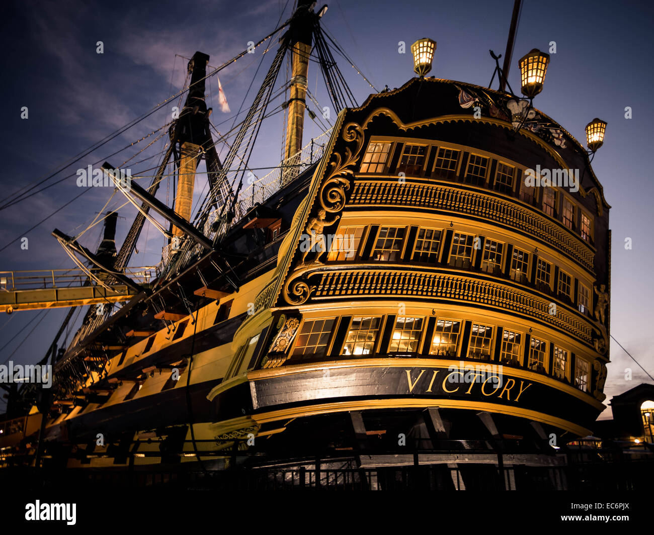 floodlit-hms-victory-shortly-after-sunset-EC6PJX.jpg