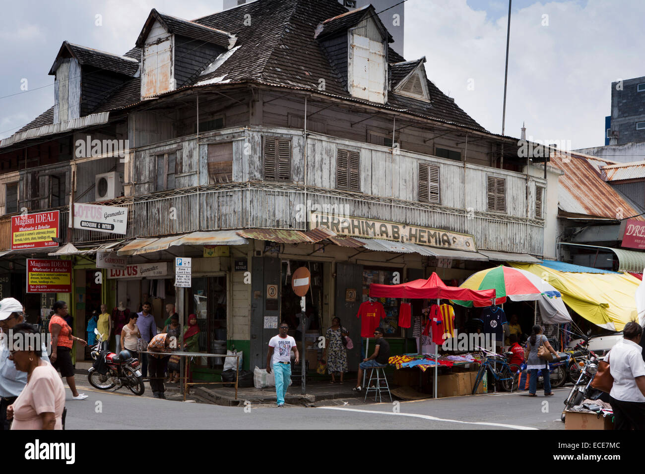 Mauritius port louis rue royale old moslem owned corner shop in stock photo royalty free - Mauritius market port louis ...