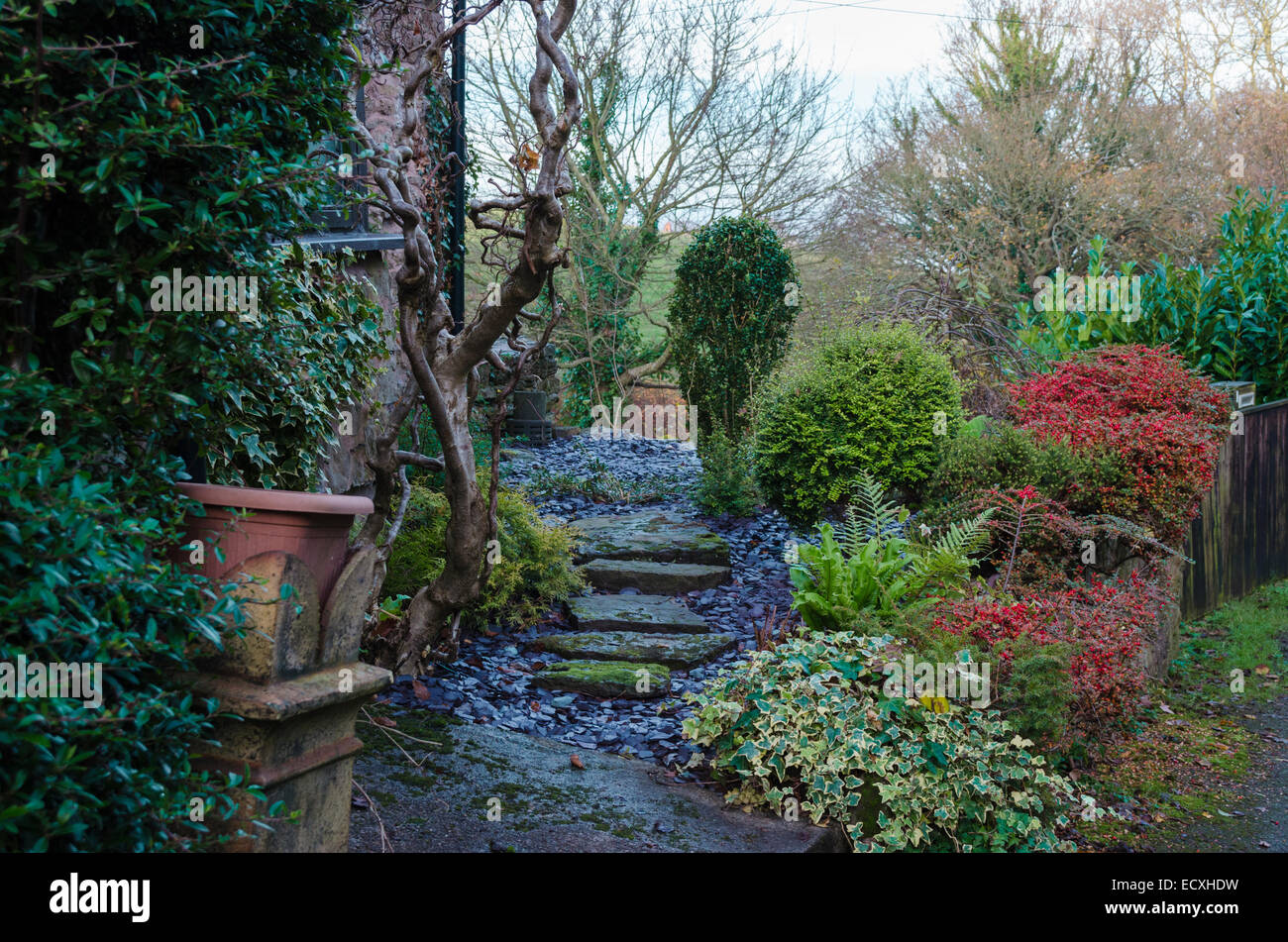 Typical Welsh Cottage Garden In Winter Stock Photo