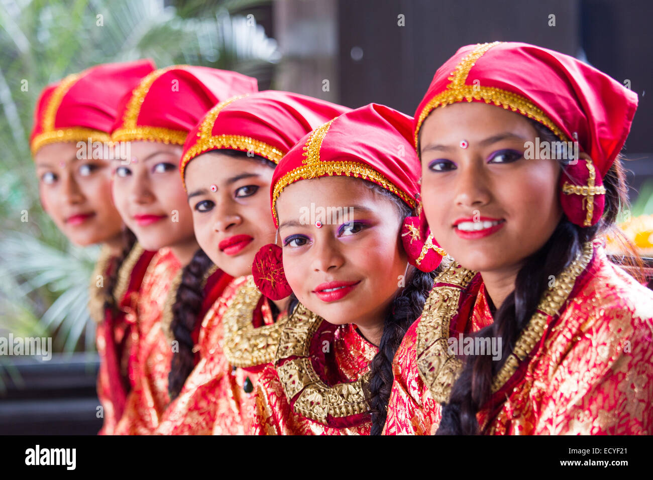 Girls dressed in traditional clothing in kathmandu nepal for Wedding dress nepali culture