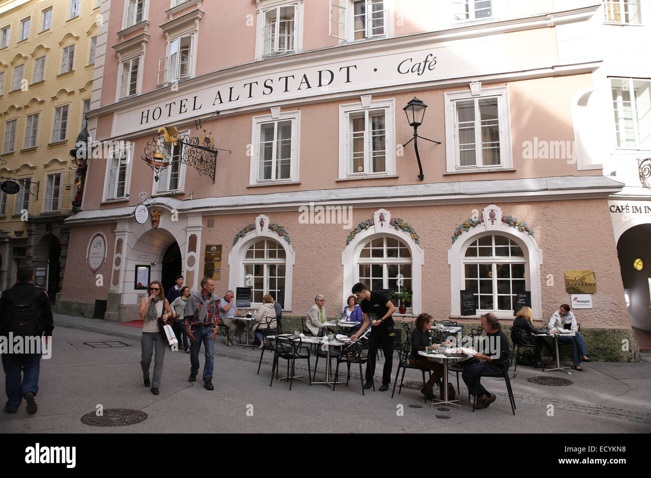 hotel altstadt cafe salzburg stock photo royalty free image 76825540 alamy. Black Bedroom Furniture Sets. Home Design Ideas