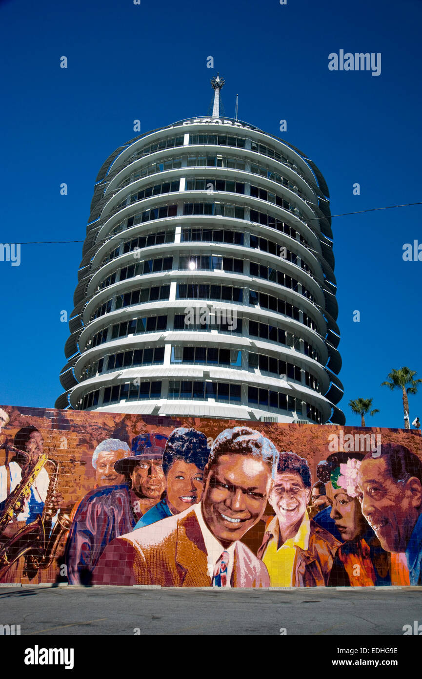 Hollywood Records: Capitol Records Musicians Mural Outside Building On Vine