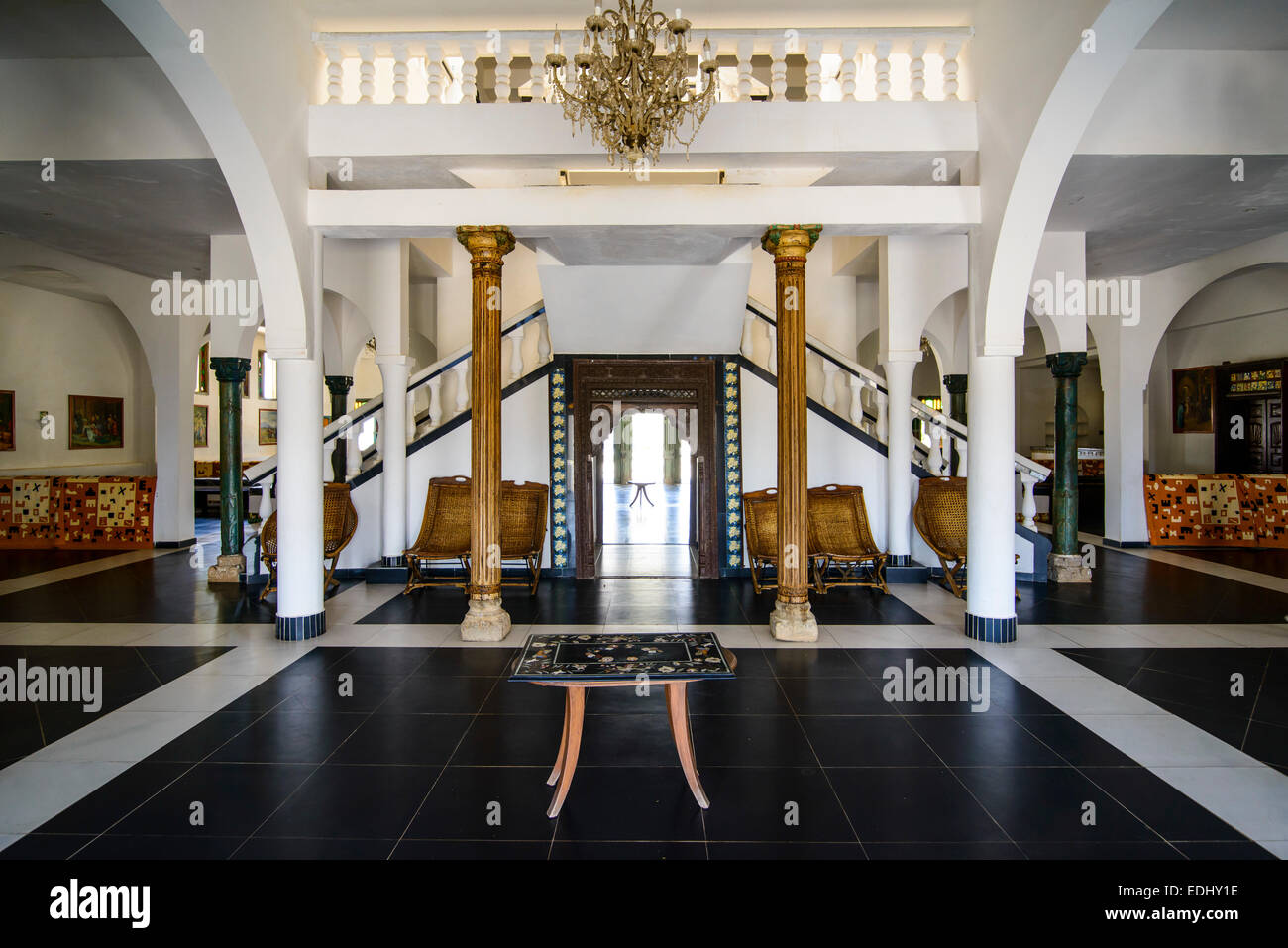 Foyer And Entrance Of The Windsor Hotel : Entrance hall of a luxury hotel massawa eritrea stock