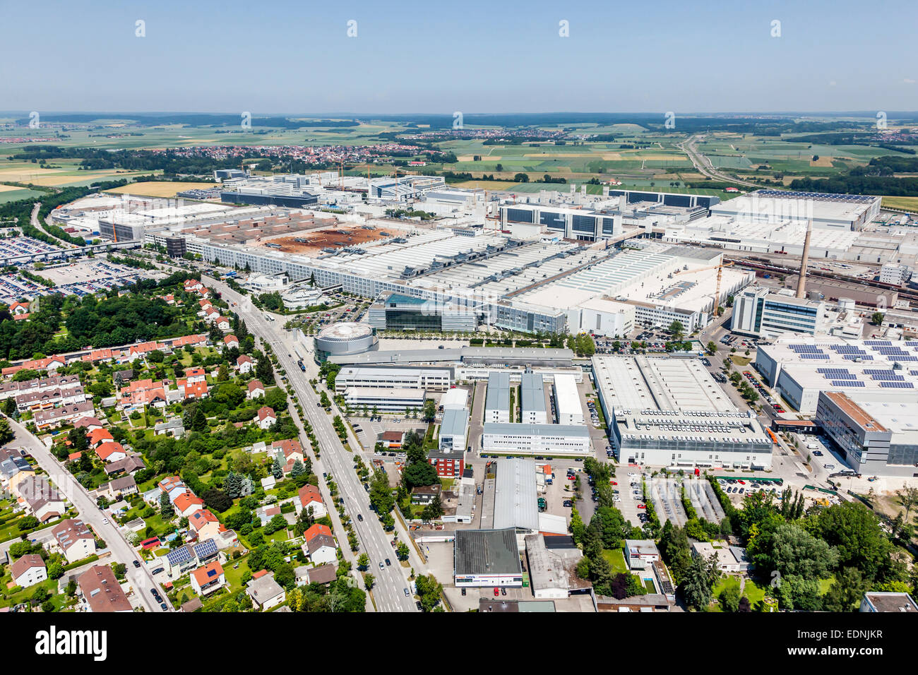 Aerial View, Audi Ag, Factory, Main Plant, Ingolstadt, Upper Bavaria Stock Photo, Royalty Free ...