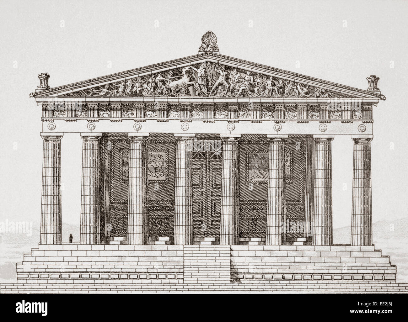 Reconstruction drawing of the Parthenon temple in Athens ...