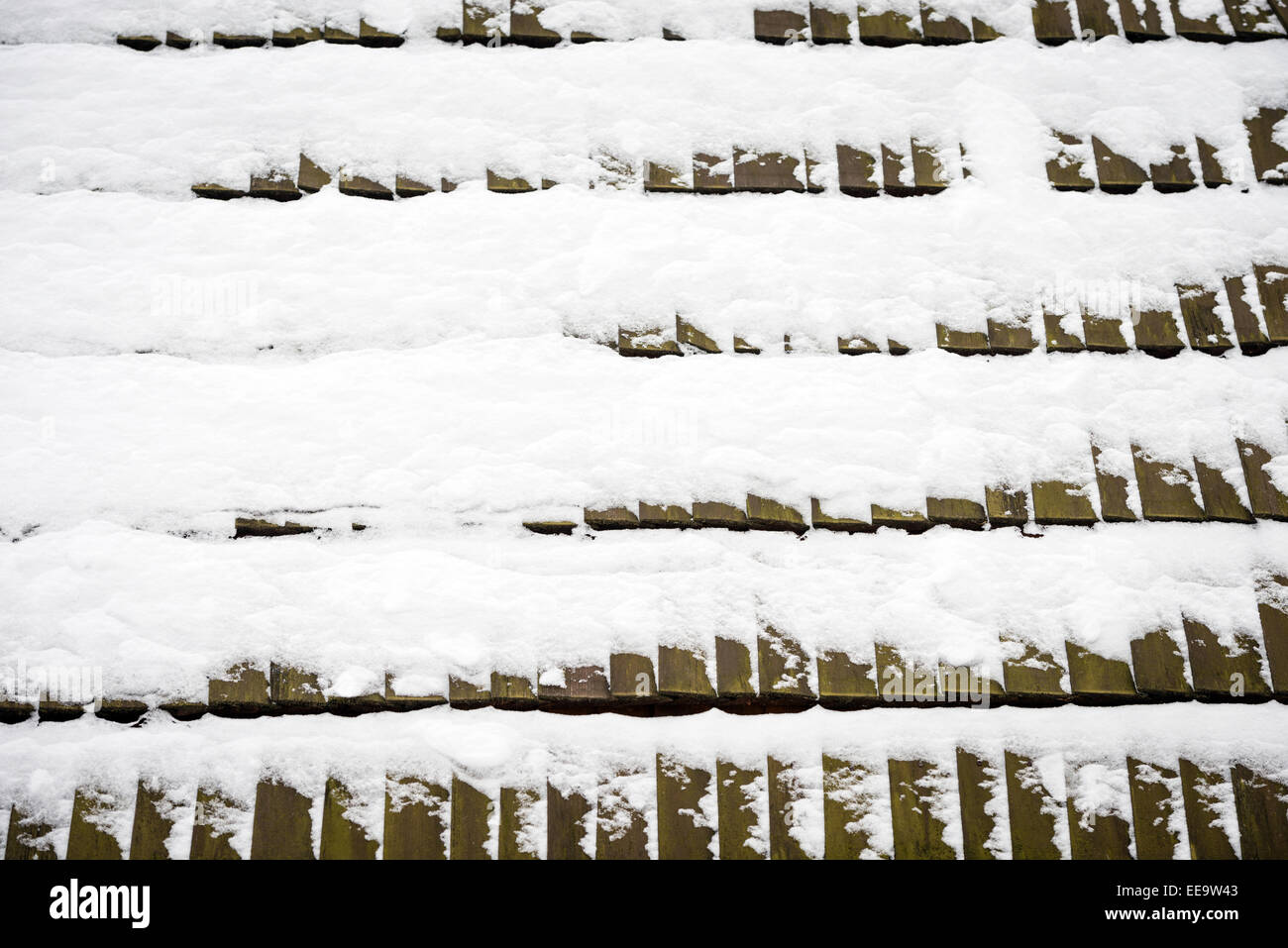 Texture Of Wooden Roof Tiles Covered With Snow Stock Photo