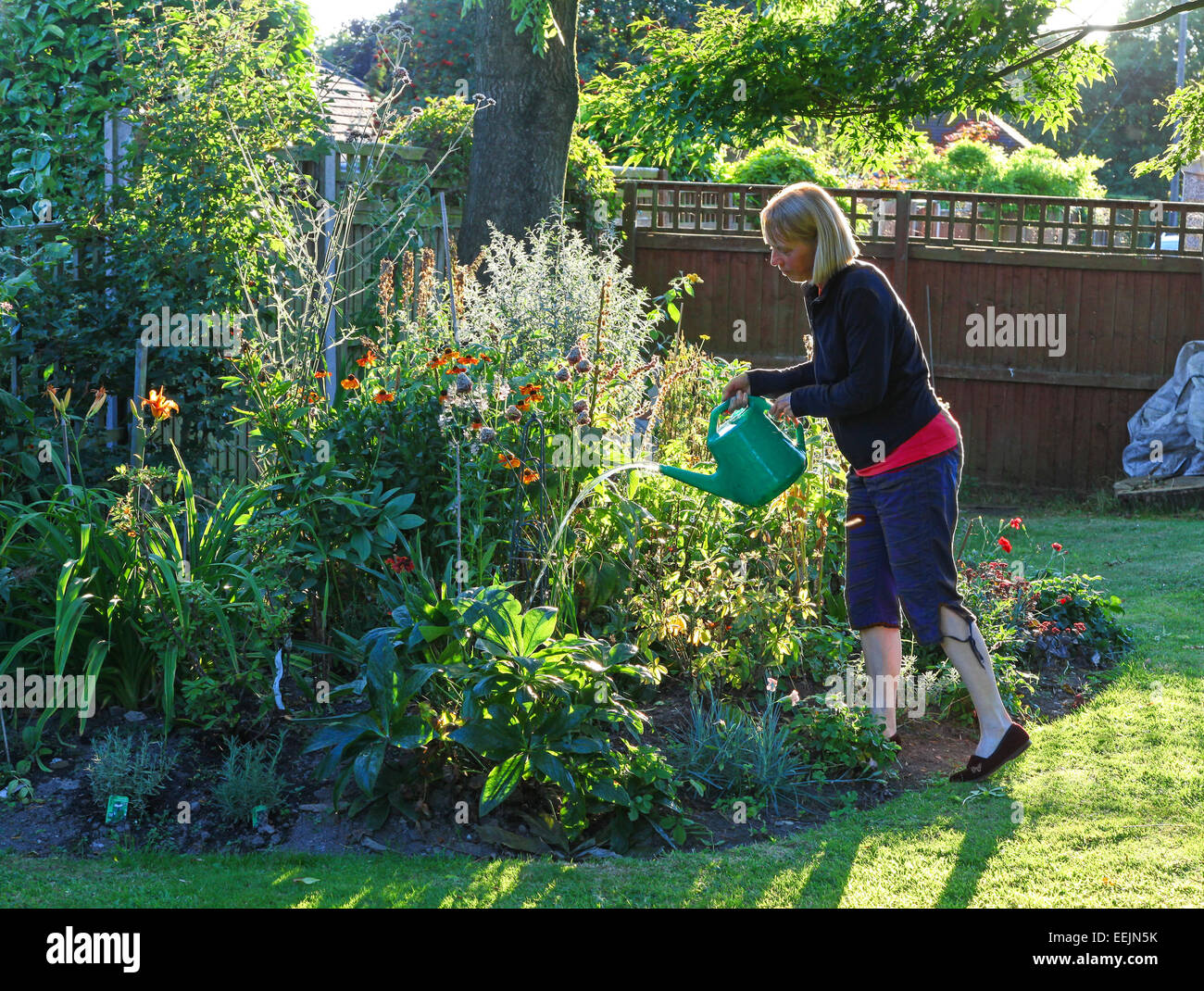 a-woman-watering-her-garden-with-a-water