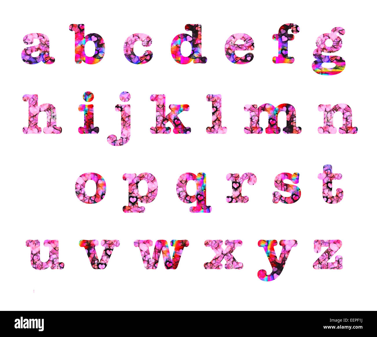 Pink Red Hearts Lower Case Small Letters Alphabet Text