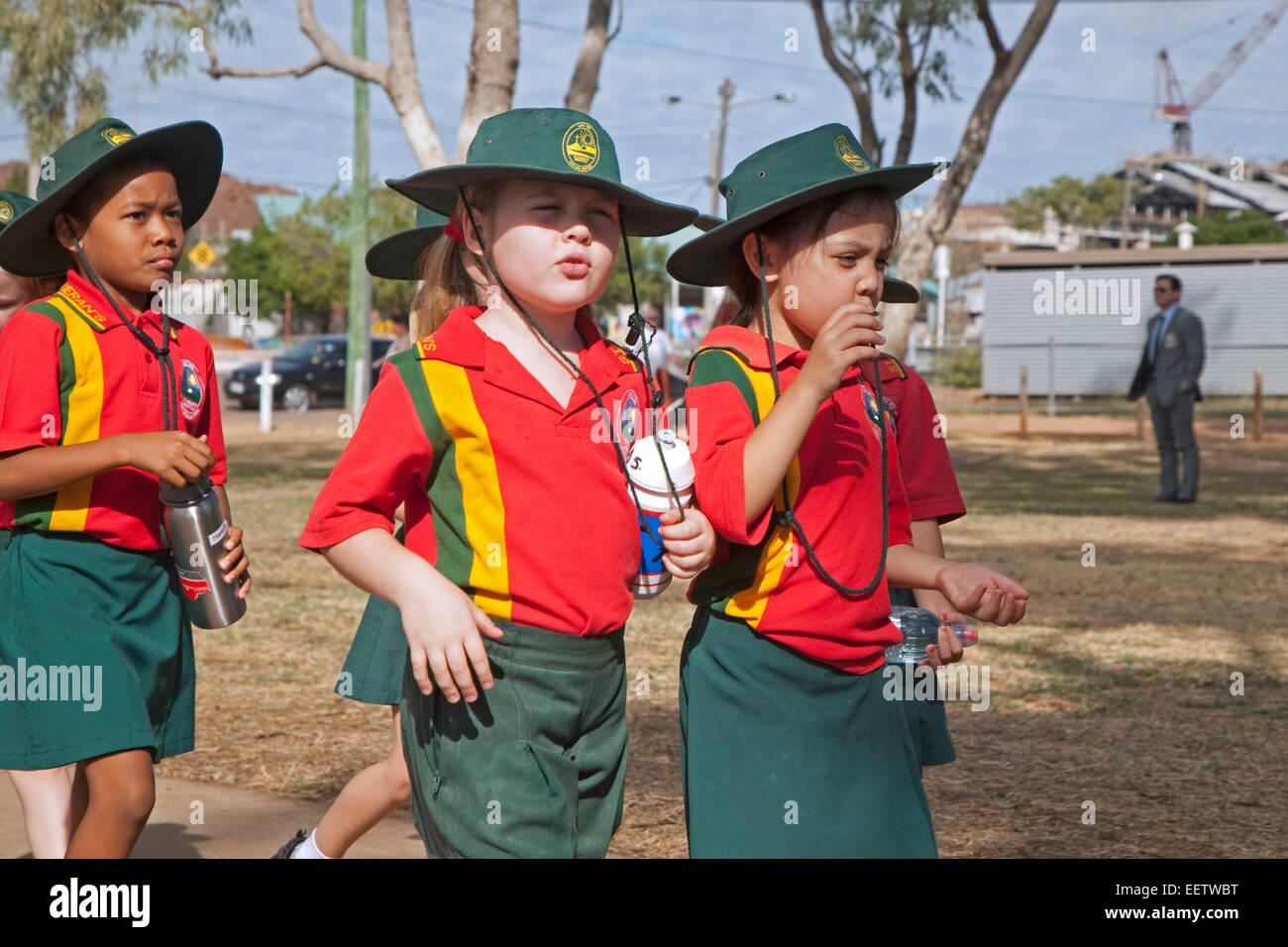 Little girls dressed in school uniforms at Mount Isa, Gulf Country region of Queensland, Australia Stock Photo