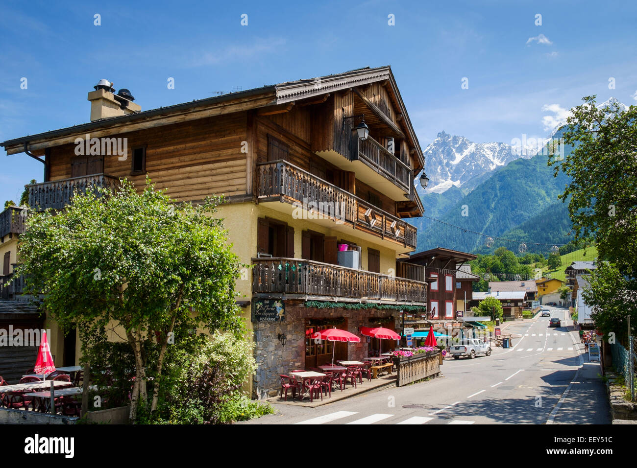hotel with bar cafe in les houches chamonix alps stock photo royalty free image