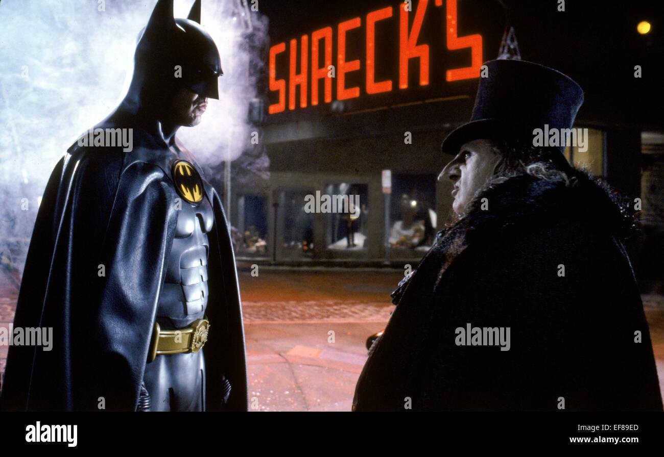 michael keaton amp danny devito batman returns 1992 stock