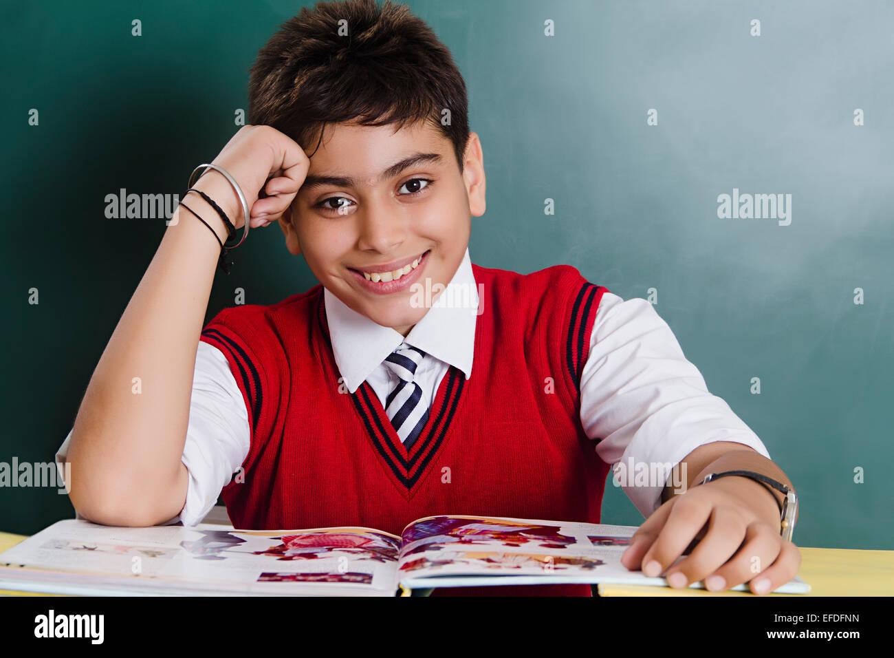 1 Indian School Boy Student Book Study Stock Photo