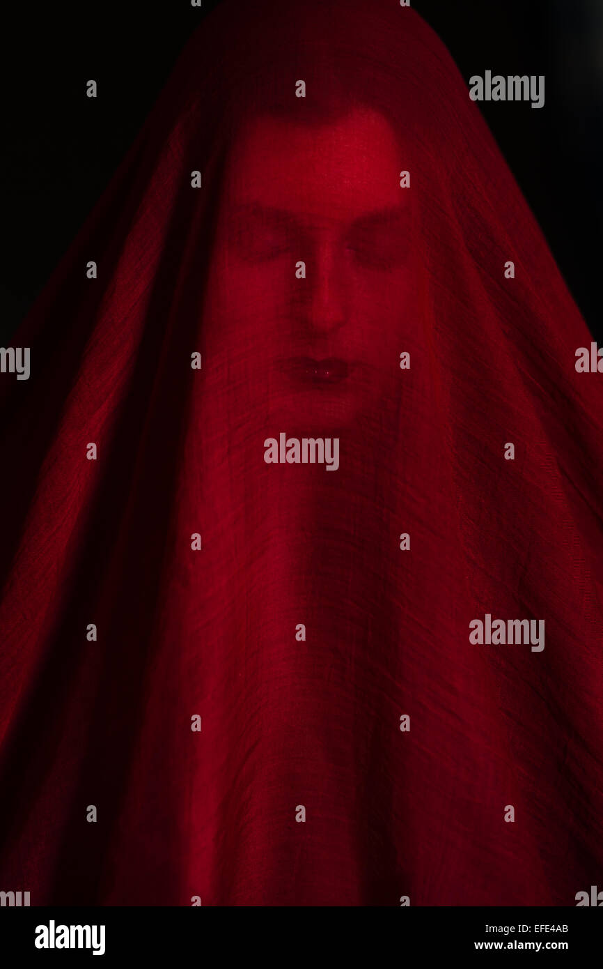 Girl posing with red cloth. Concept, abstraction Stock Foto