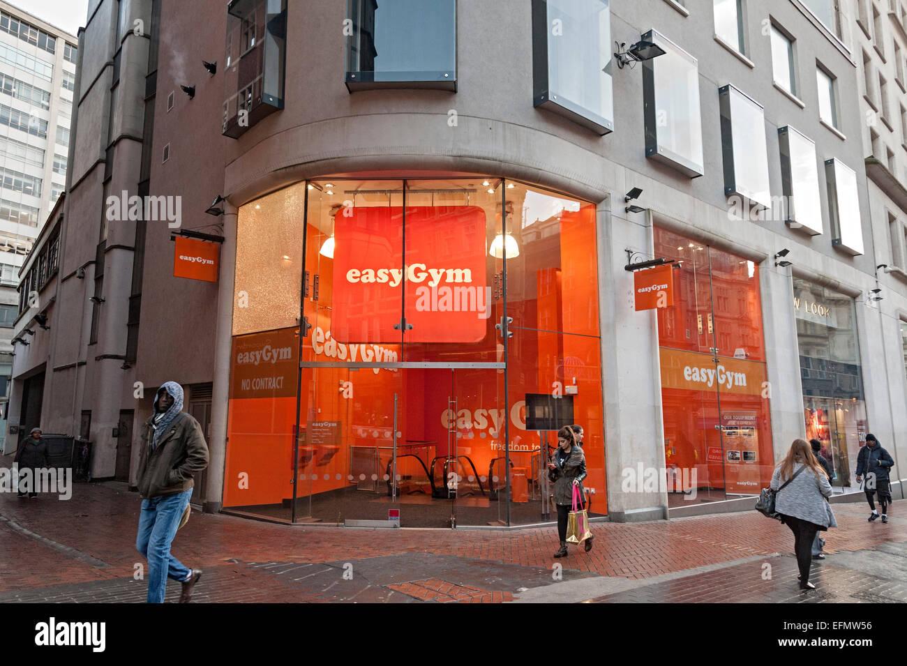 easy gym birmingham central with orange coloured entrance. Black Bedroom Furniture Sets. Home Design Ideas