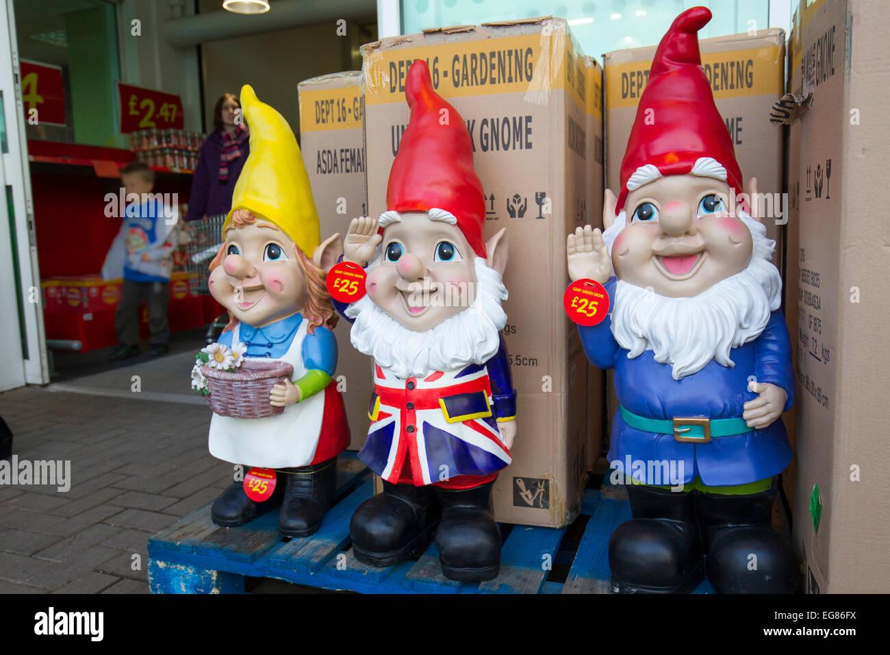 Gnome In Garden: Giant Garden Gnomes On Sale At Asada Kendal Stock Photo