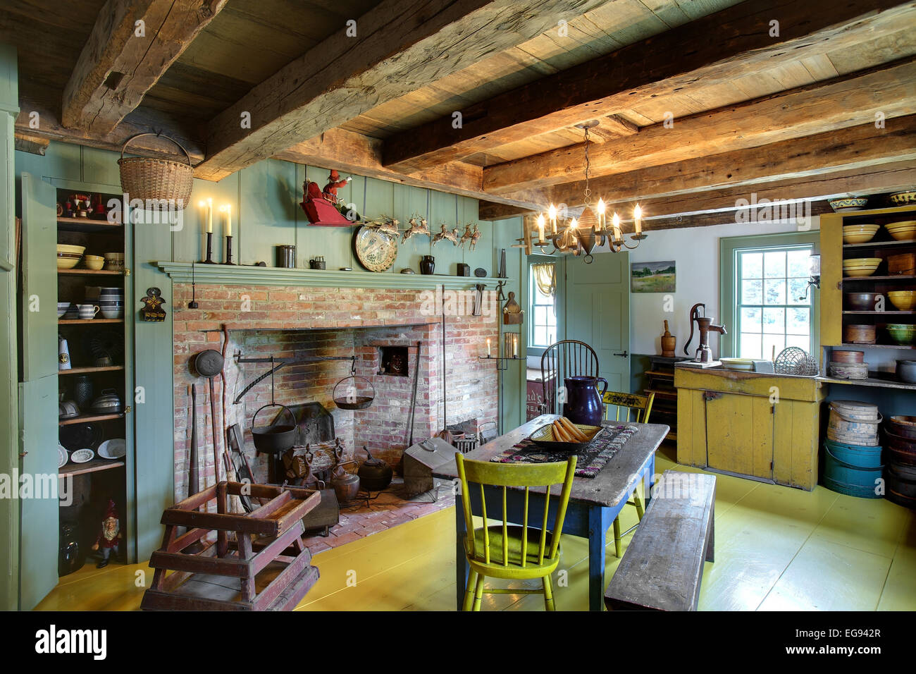 The Kitchen Dining Room And Fireplace In A Restored 17th