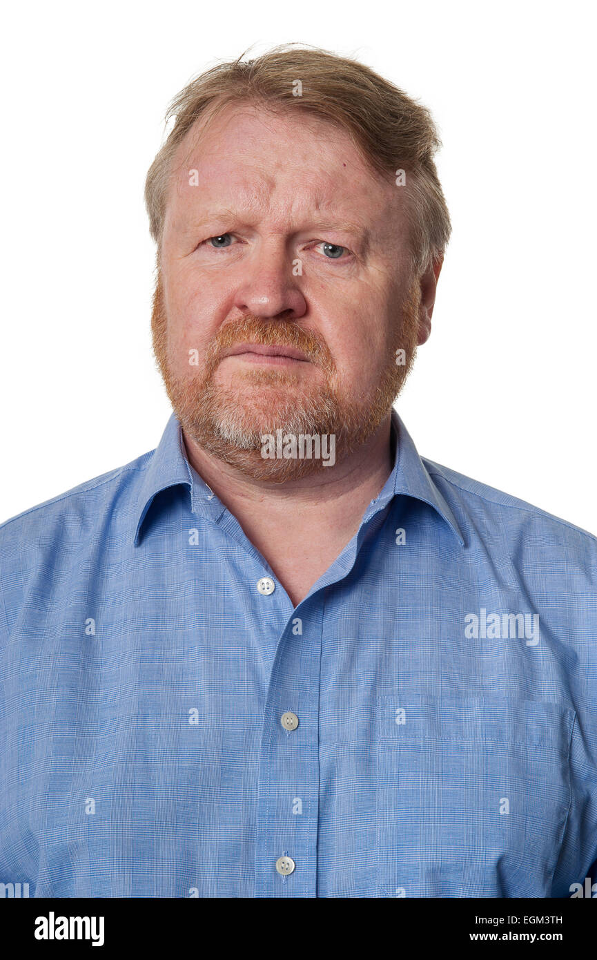 Portrait of concerned bearded overweight middle aged man ...