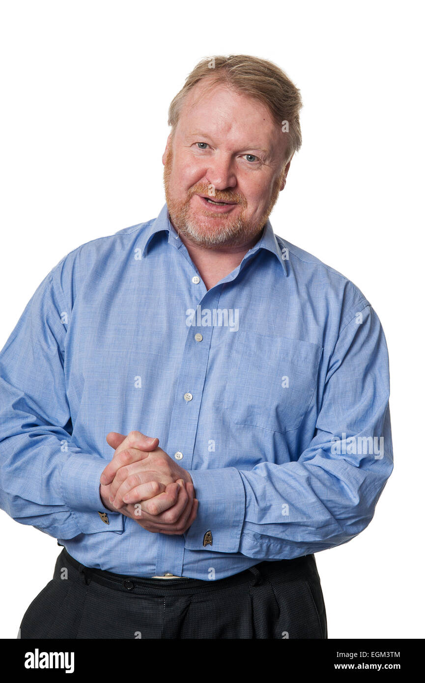 Portrait of bearded overweight middle aged man talking ...