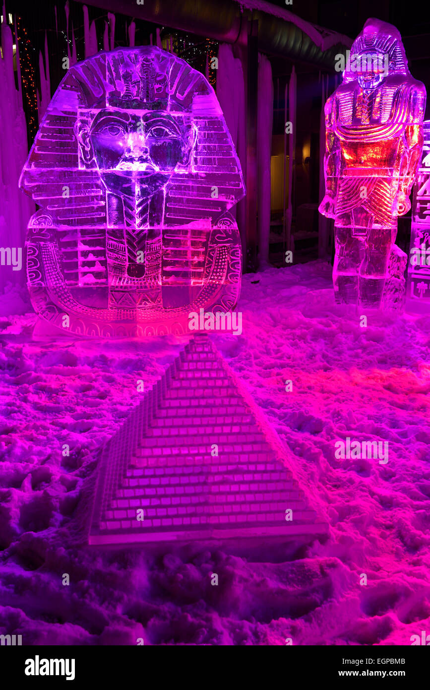 King Tut Ice Sculpture With Pyramid And Purple Lights At Yorkville Stock Phot