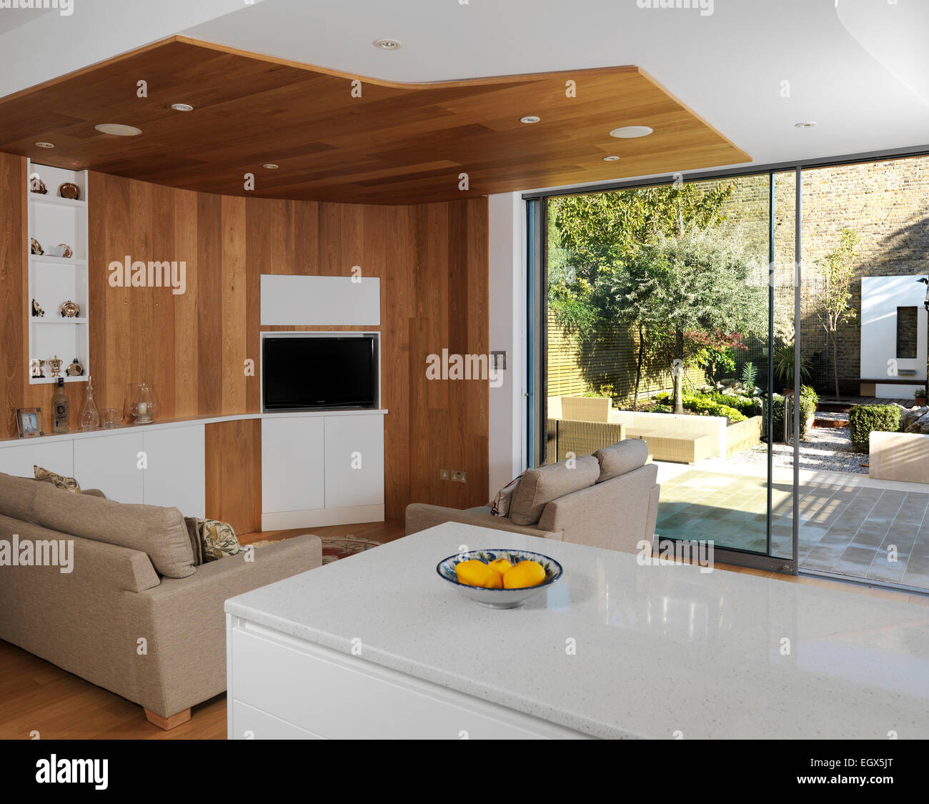 Sitting Area In Open Plan Kitchen With View To Garden Uk