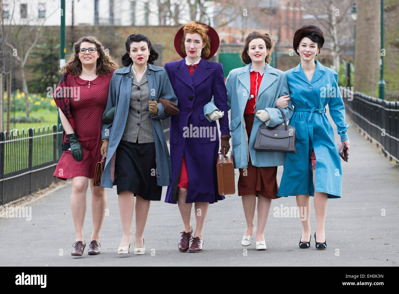 London Uk 3 March 2015 Photocall With Models Dressed In 1940s Stock Photo Royalty Free Image