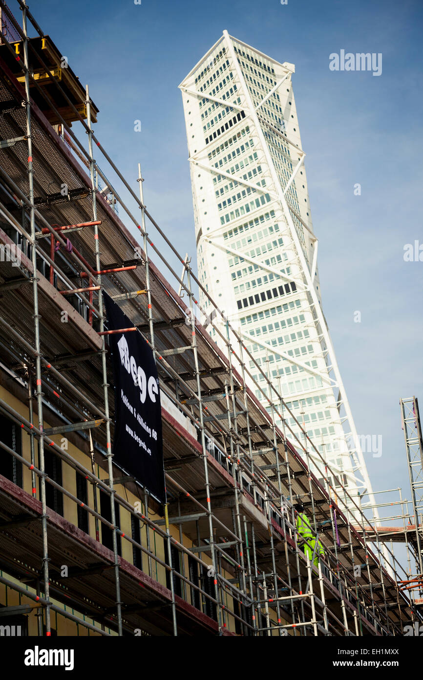 Low angle view of building under construction Stock Photo