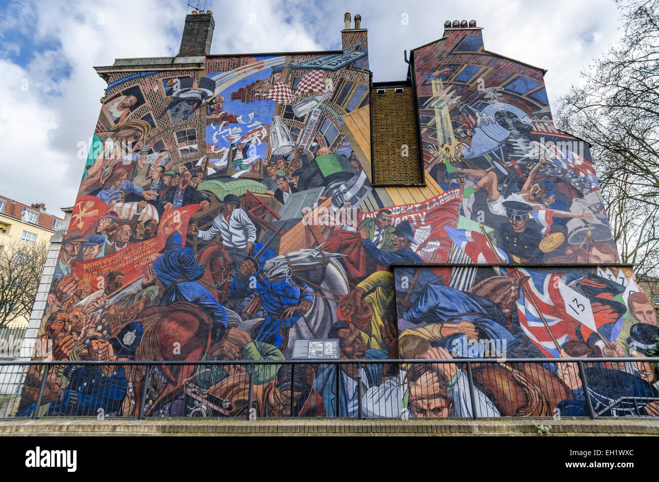 The battle of cable street is a mural in shadwell east for Battle of cable street mural