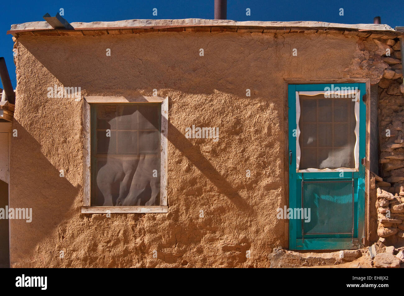 Detail of adobe house in acoma pueblo sky city native for How to build a model pueblo house