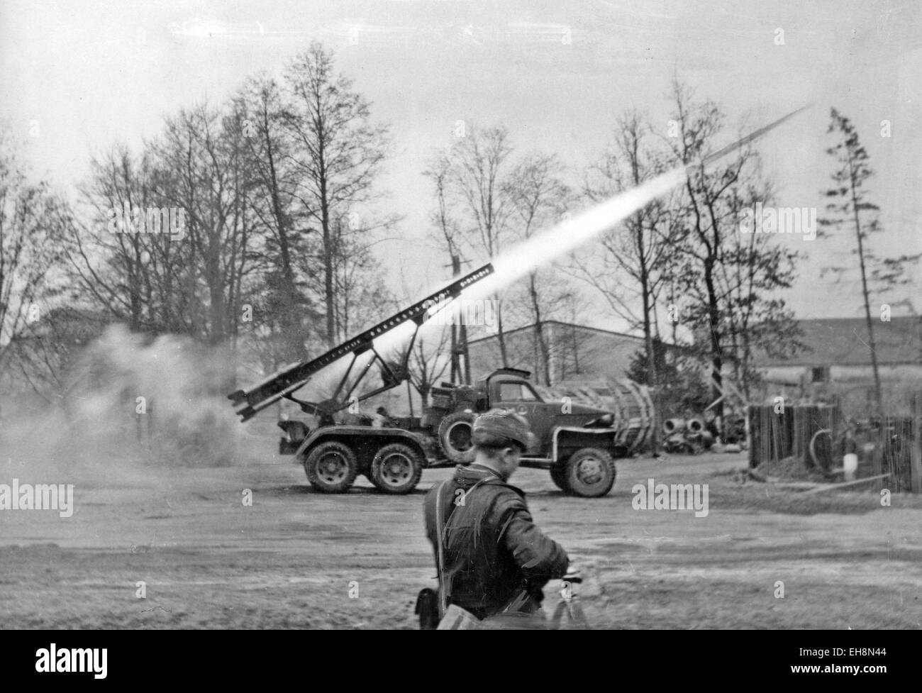 soviet katyusha rocket launcher in action near breslau in february stock photo royalty free. Black Bedroom Furniture Sets. Home Design Ideas