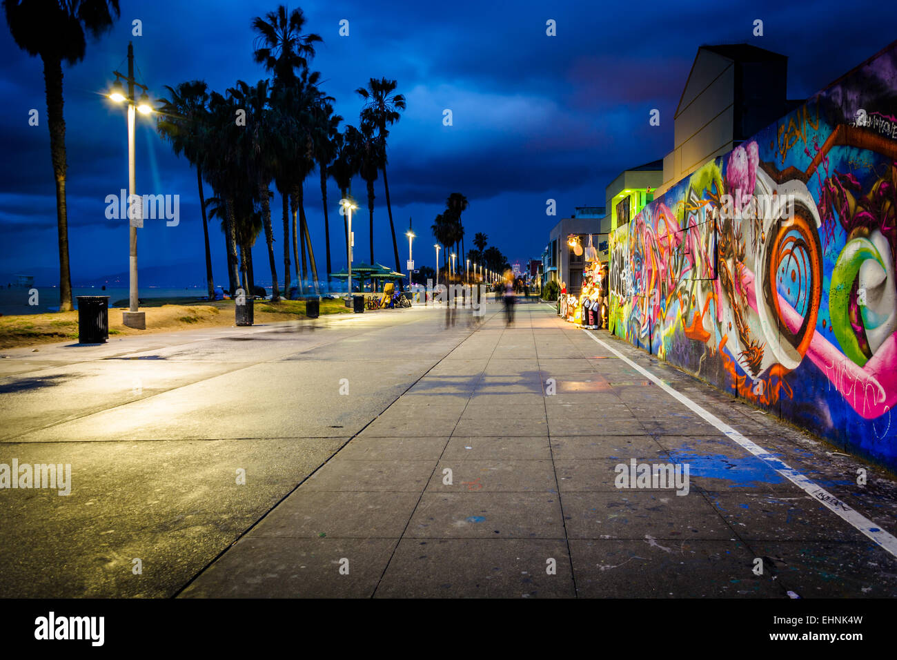 Venice beach boardwalk at night