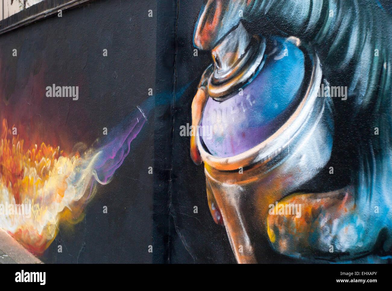 Fire From Paint Can Spray Graffiti Street Art Black Wall Kentish Stock Photo Royalty Free Image
