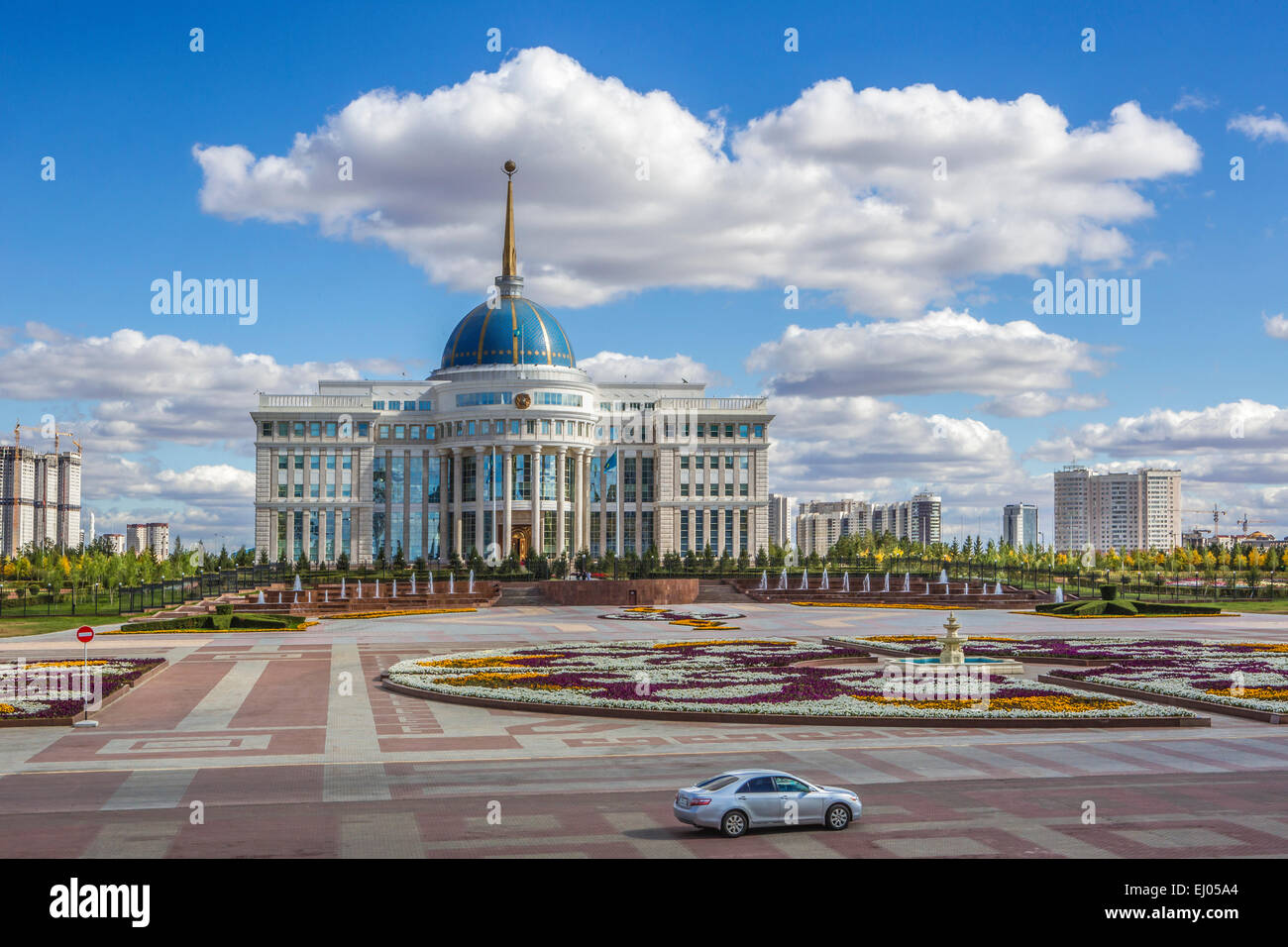Astana Avenue Boulevard City Flowers Plants Kazakhstan Central Stock P