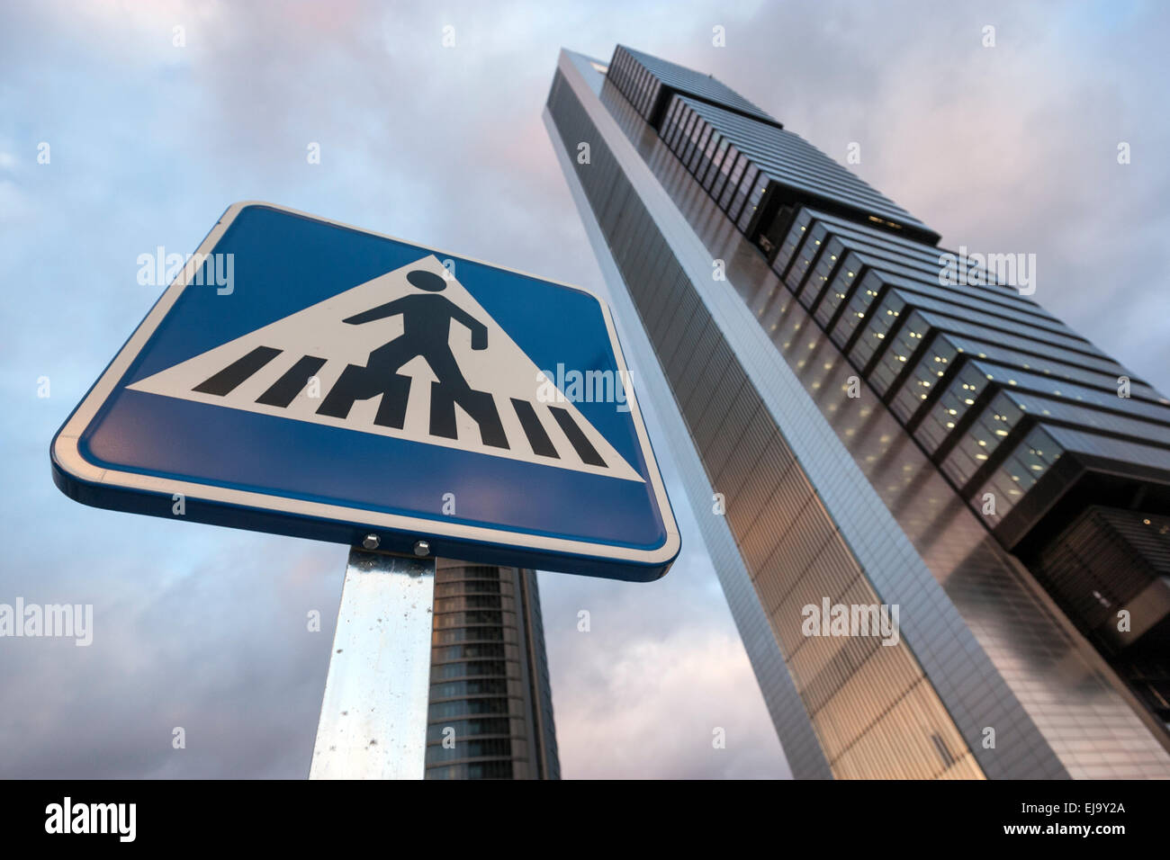 zebra-crossing-sign-and-torre-bankia-by-