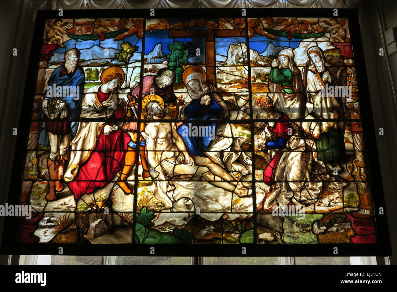 Stained Glass Window Depicting The Death Of Jesus Christ