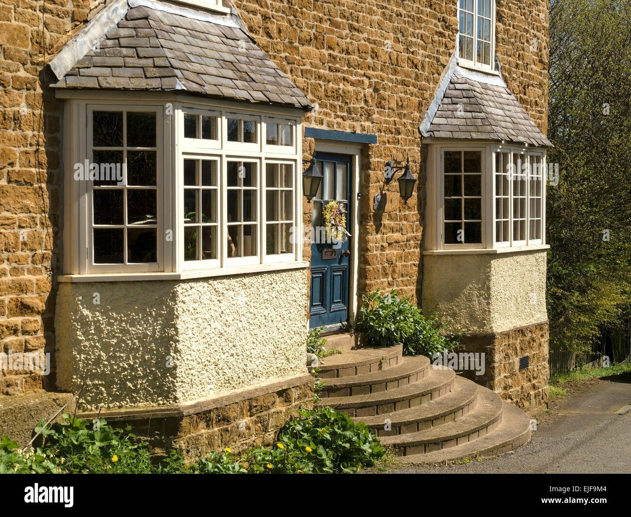 Front Elevation Window : Front elevation of attractive old stone house with bay
