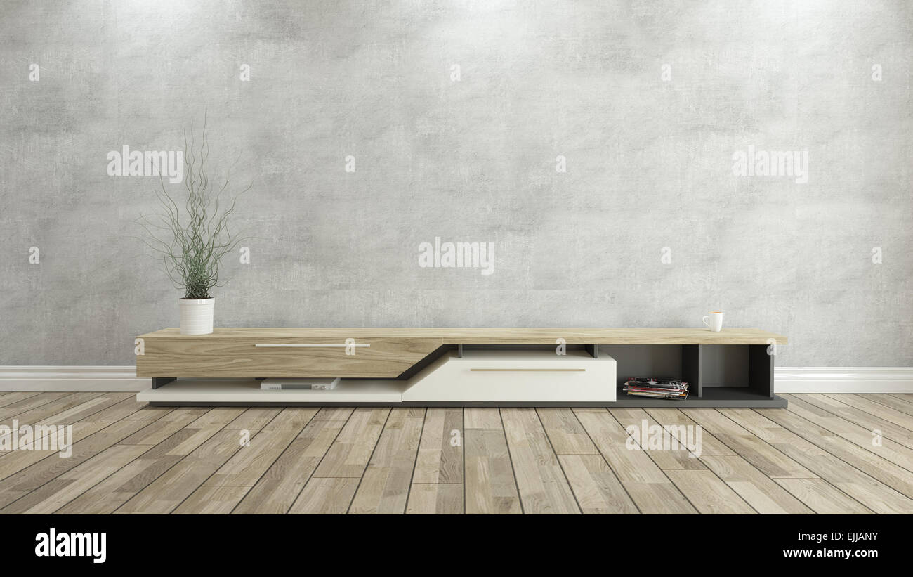 Tv Stand With Concrete Wall And Wooden Parquet Background