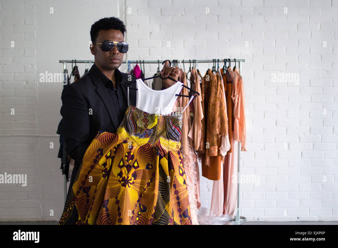 South African Fashion Designer David Tlale Poses With One Of His Stock Photo Royalty Free Image