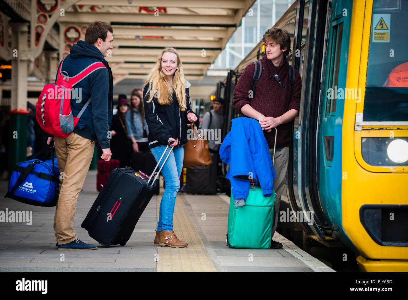 Public Transport University Students With Their Luggage